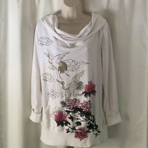 Lucky Brand Floral Sweatshirt Size Large